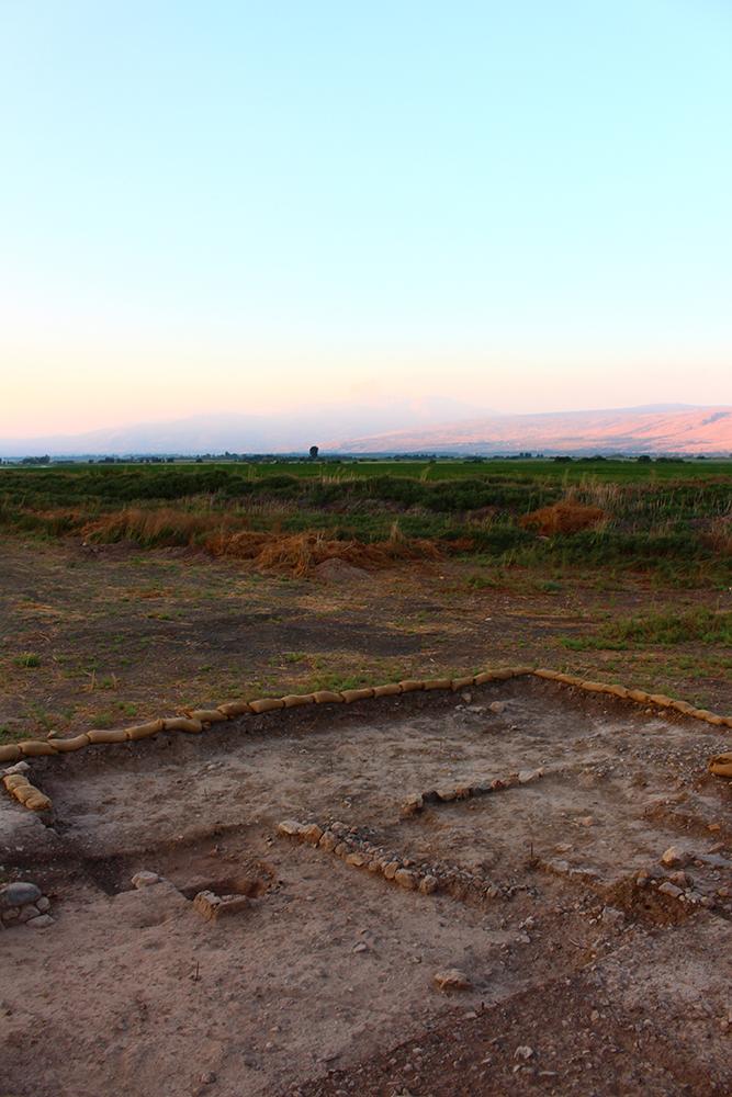 Ausschnitt des Grabungsareals mit der Grube, in der sich die Feuerbestattung befand.