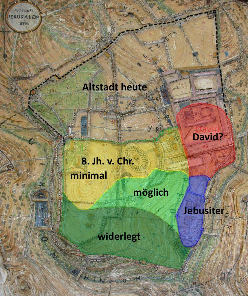 Karte mit farblich markierten Zeitepochen und Siedlungsarealen auf dem Zionsberg