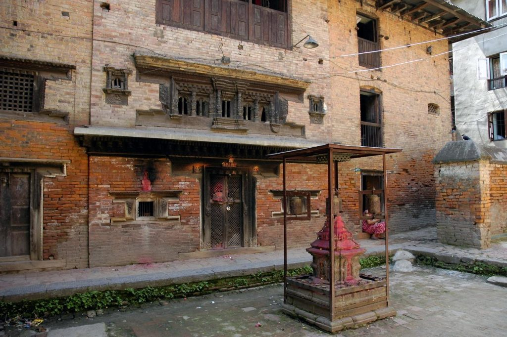 Das buddhistische Pilachẽ Cidham Kloster in Patan vor dem Erdbeben 2015