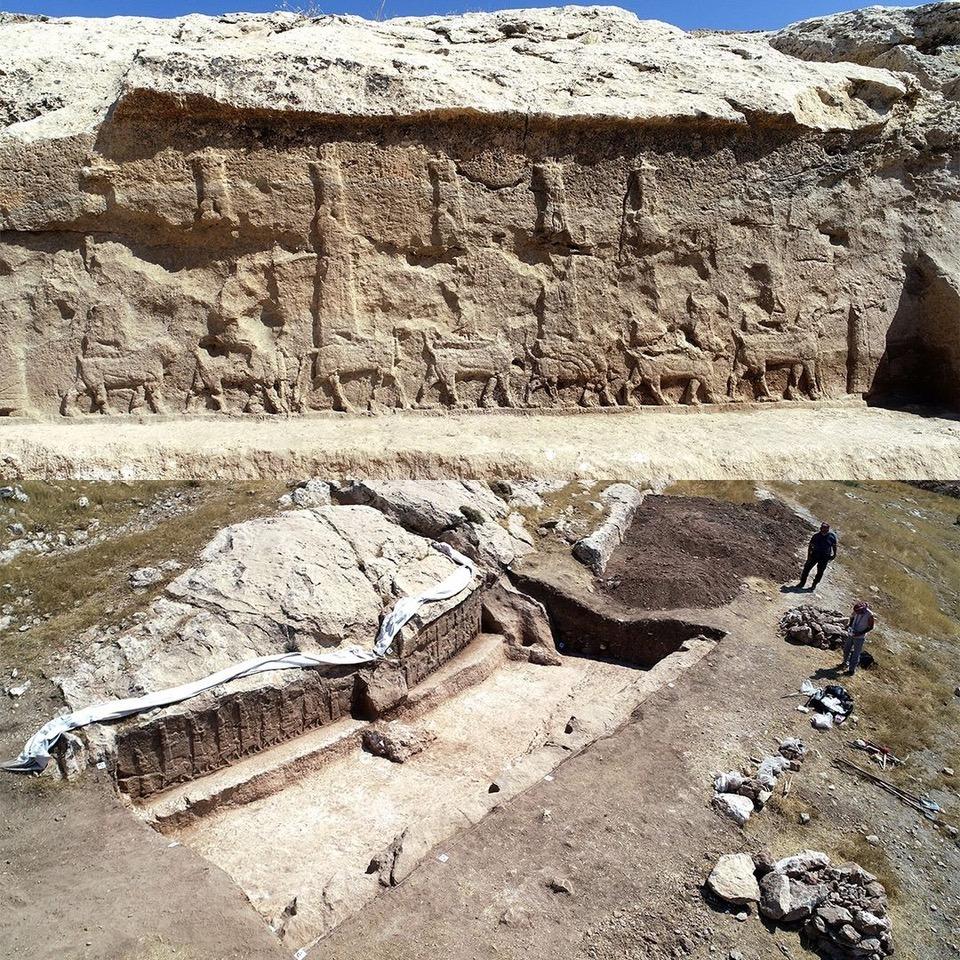 Die ausgegrabenen Felsbilder im Irak, die als Gewinner des Internationalen Preises für archäologische Entdeckungen ausgewählt wurden.