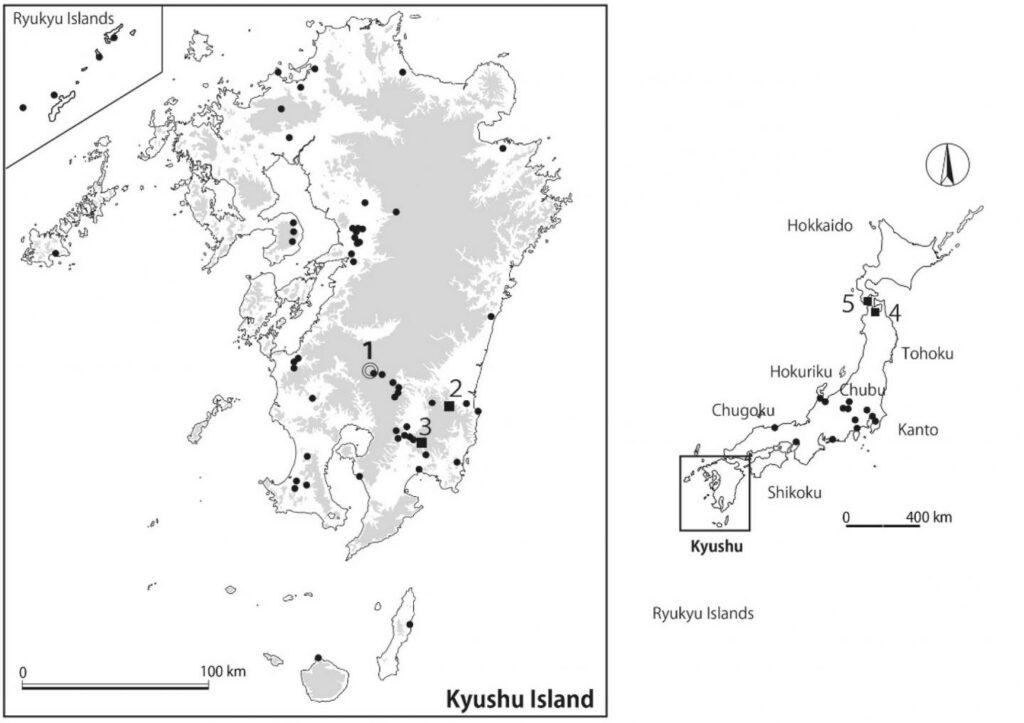 Genaue Lages des Fundorts Yakushoden, auf der südlichen Insel Kyushu, an dem die Scherben mit dem Abdruck des Maiskäfers gefunden wurden.
