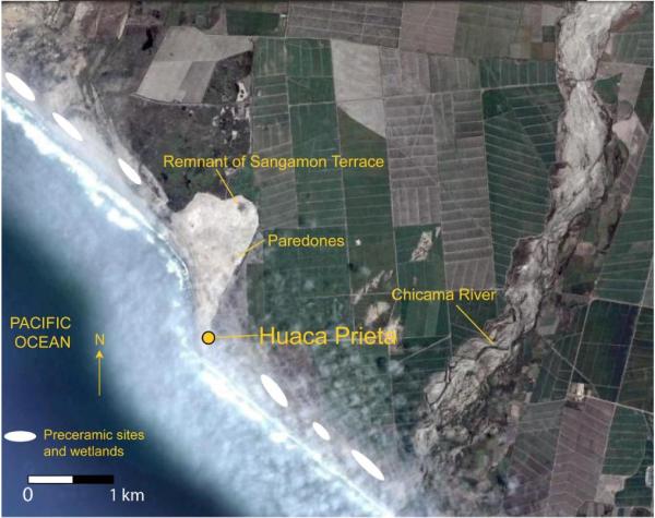 Karte der Huaca Prieta- und Paredones-Hügel im Norden Perus. Die Karte verdeutlicht die Lage der Grabhügel im nördlichen Küstengebiet Perus und ihre Nähe zueinander