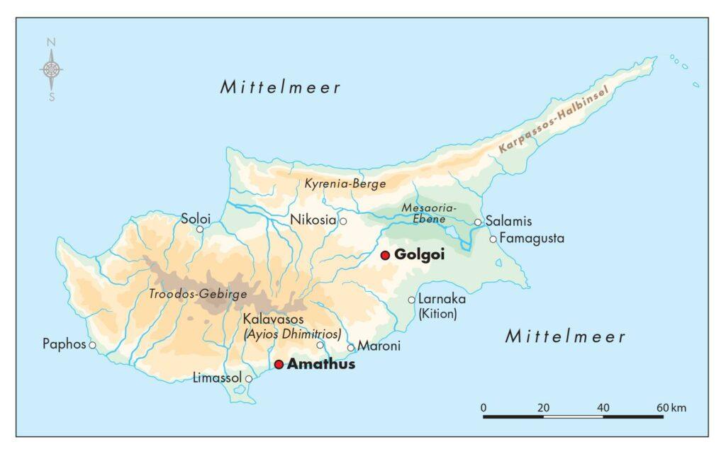 Landkarte von Zypern, die die wichtigsten Fundorte eteokyprischer Texte zeigt. Hervorgehoben sind die Orte Amathus und Golgoi.