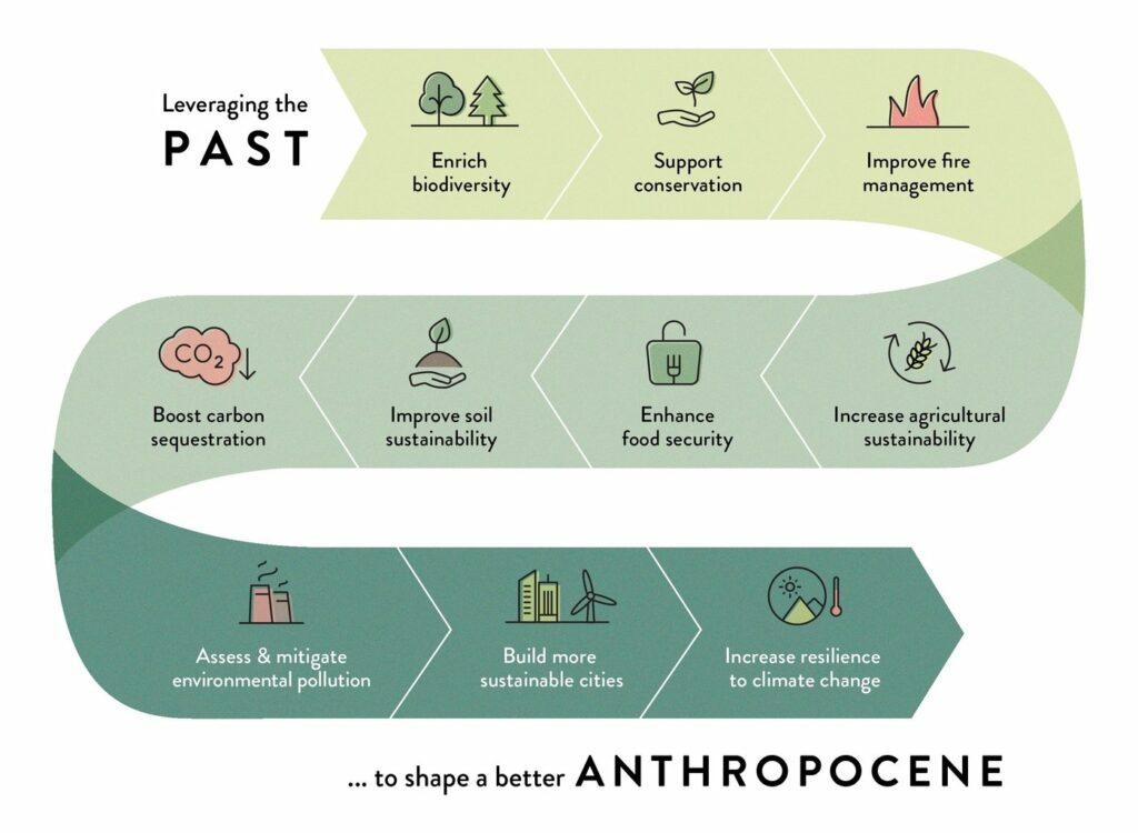 Grafik, die die Erkenntnisse aus verschiedenen Forschungsgebieten zeigt. Diese können genutzt werden, um die Herausforderungen des Anthropozäns und der Zukunft zu lösen.