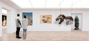 Virtueller Museumsbesuch: auch am Internationalen Museumstag möglich. Das Bild zeigt eine weibliche und eine männliche Person in einem weißen Raum. Beide betrachten eine Auswahl an Objekten. Direkt vor ihnen hängt ein Bild von einer Burg, daneben befindet sich ein Bild von Schmuckstücken und Gerätschaften aus dem Mittelalter. Der Teil eines Dinosaurier-Skeletts hängt an Seilen von einer Decke. Am linken Bildrand befindet sich ein Bild von Napoleon und am rechten Bildrand steht eine römische Statue der Göttin Isis in einer Nische.