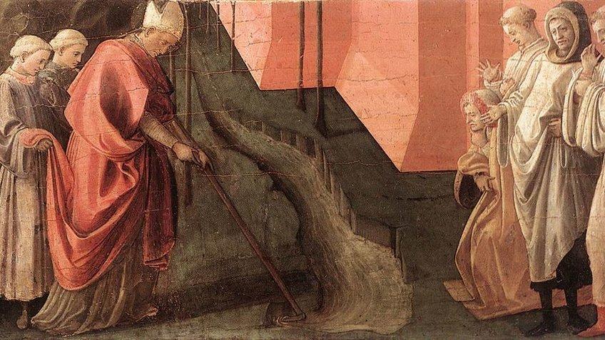 Gemälde des Heiligen Fredianus. Wohl bedingt durch starke Niederschläge lenkt St. Fredianus den Fluss Serchio - in der Bildmitte - um. Der Heilige ist an seinem roten Gewand und einer Tiara zu erkennen. In den Händen hält er einen langen Stab, mit dem er das Wasser umlenkt. Flankiert wird der Heilige von zwei Personen auf der linken Seite, von der einer seinen Mantel hält, und von vier Personen auf der rechten Seite, die dem Wunder beiwohnen.