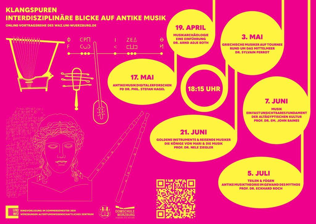 """Plakat zur Ringvorlesung """"Klangspuren - Interdisziplinäre Blicke auf antike Musik"""" mit dem Datum der jeweiligen Vorträge und Uhrzeit."""