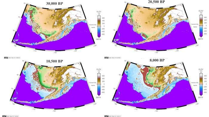 Kartierung der Besiedlung Nordamerikas über Trittsteine in der Bering-See