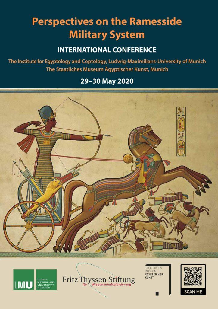 """Flyer zur internationalen Konferenz """"Perspektiven des ramessidischen Militärsystems"""" mit Angaben des Titels, des Veranstalters und dem Veranstaltungsort."""