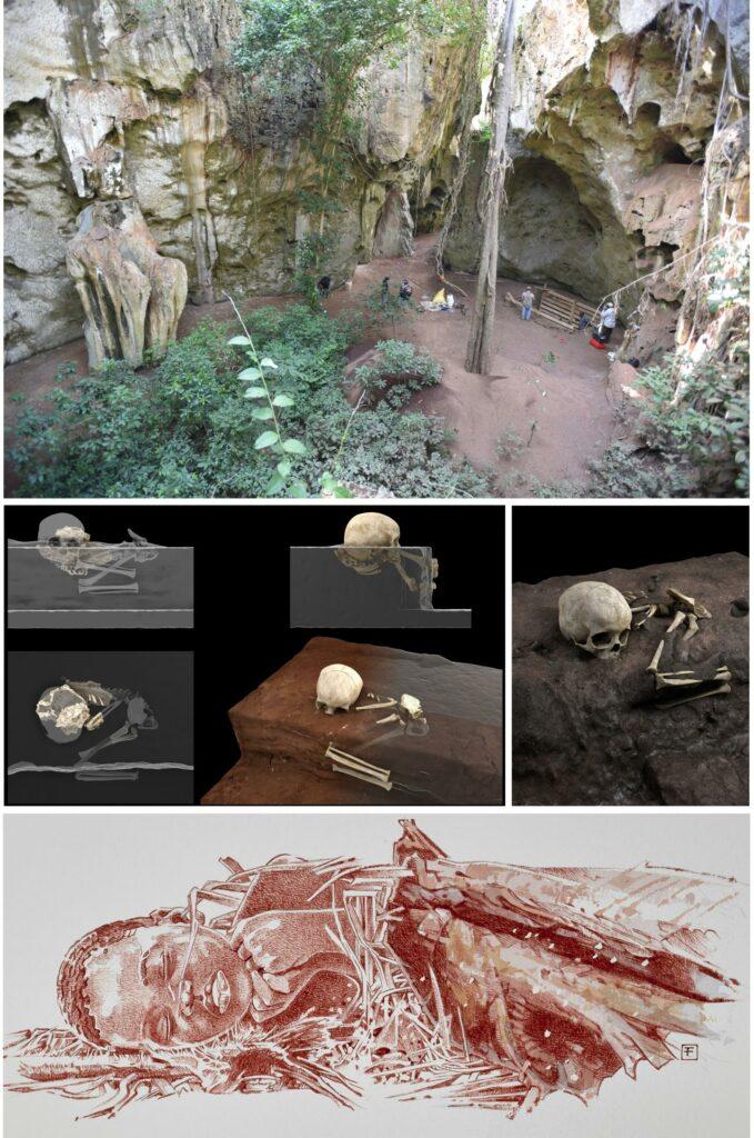Bilder von der Ausgrabung in Kenia, bei der eine Begräbnisstätte eines kleinen Jungen gefunden wurde.
