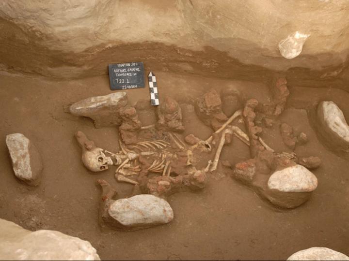 Skelett aus der frühen Bronzezeit. Eine zeit des Übergang