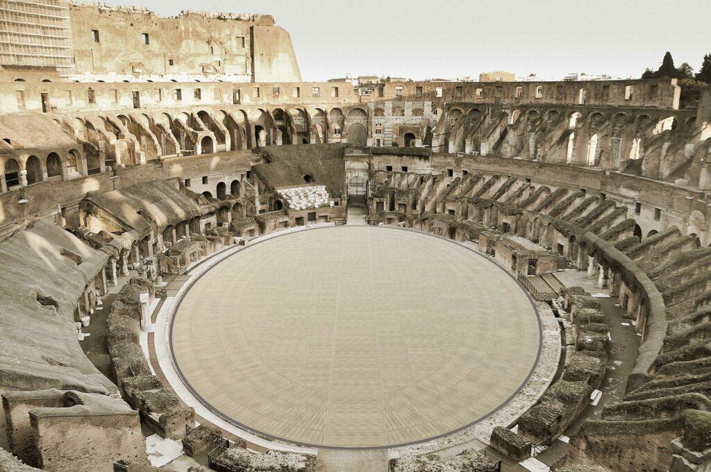 Zu sehen ist die Rekonstruktion des Bodens des Kolosseum.
