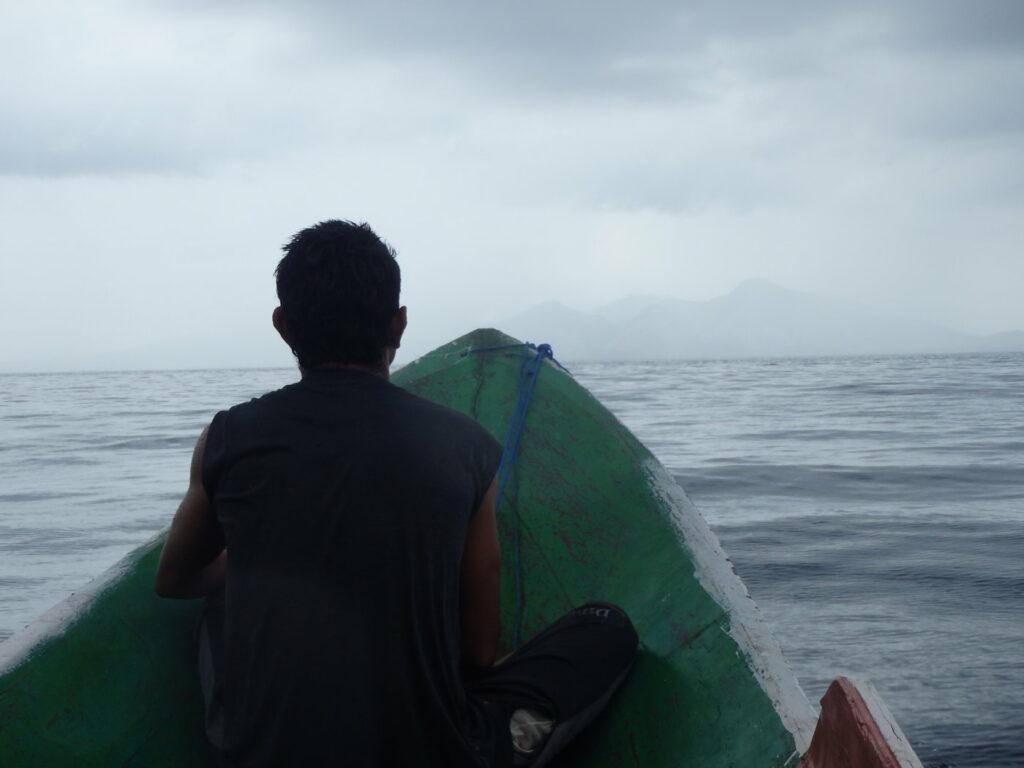 Zu sehen ist die Ankunft eines Bootes auf einer Insel. Doch dieses führte nichts zwangsläufig zu einem Artenaussterben.