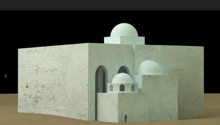 Rekonstruktionszeichnung von der Kirche in Dongola