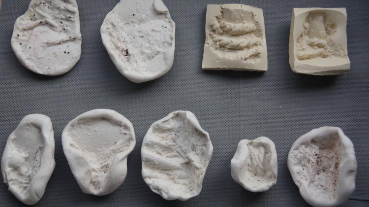 Die Abdrücke zeigen verschiedene Textilarten. Zu sehen sind u.a. Abdrücke von Seilen, glatte Abdrücke, vielleicht von Leder und Abdrücke von gewebten Textilarten.