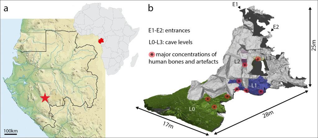 Lage der Iroungou-Höhle (inks) und 3D Modell der Höhle (rechts) (Credit: P. Mora und S. Kacki)