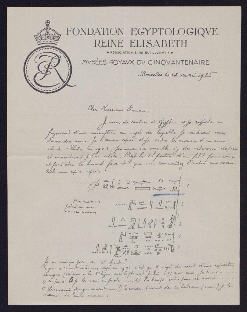 Der Brief an Adolf Erman enthält neben dem französischen Text auch eine Reihe an Hieroglyphen.