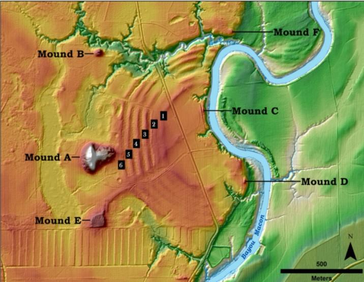 Hinweise auf Ingenieure? Die Abbildung zeigt die wichtigsten Merkmale des Standorts Poverty Point im Norden Louisianas: Auf der rechten Seite befindet die Überschwemmungsebene des Mississippi. In Orange ist der Macon Ridge, der höher gelegene Teil des Gelände, eingezeichnet. Links vom Poverty Point sind sechs C-förmige, dicht hintereinander liegende Grate zu sehen. Das streifenförmige Muster südlich von Mound E am linken unteren Bildrand, das sich von dort bis in die untere Bildmitte zieht ist das Ergebnis landwirtschaftlicher Aktivitäten.