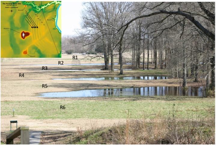 Fotografie der sechs C-förmigen Grate, an deren Bau wohl frühe Ingenieure beteiligt gewesen sind. Im heutigen Gelände, das zum Teil aus Sumpf besteht, sind die Grate kaum mehr zu erkennen. Auf dem Foto liegt Grat R1 im Hintergrund, Grat R6 im Vordergrund und dazwischen befinden sich die restlichen Grate. Zwischen den einzelnen Graten befinden sich schmale Feuchtgebiete, an deren Ufern Bäume wachsen. Am linken oberen Bildrand befindet sich noch einmal eine Grafik.
