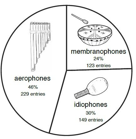 Aerophone machen knapp die Hälfte aller in Südamerika attestierten Instrumenten aus und gehören somit zu den häufigsten Instrumenten des Kontinents. Unter den indigenen Bevölkerungen fanden sich hingegen noch keine Chordophone, welche erst später mit der europäischen Kolonisierung nach Südamerika gelangten.