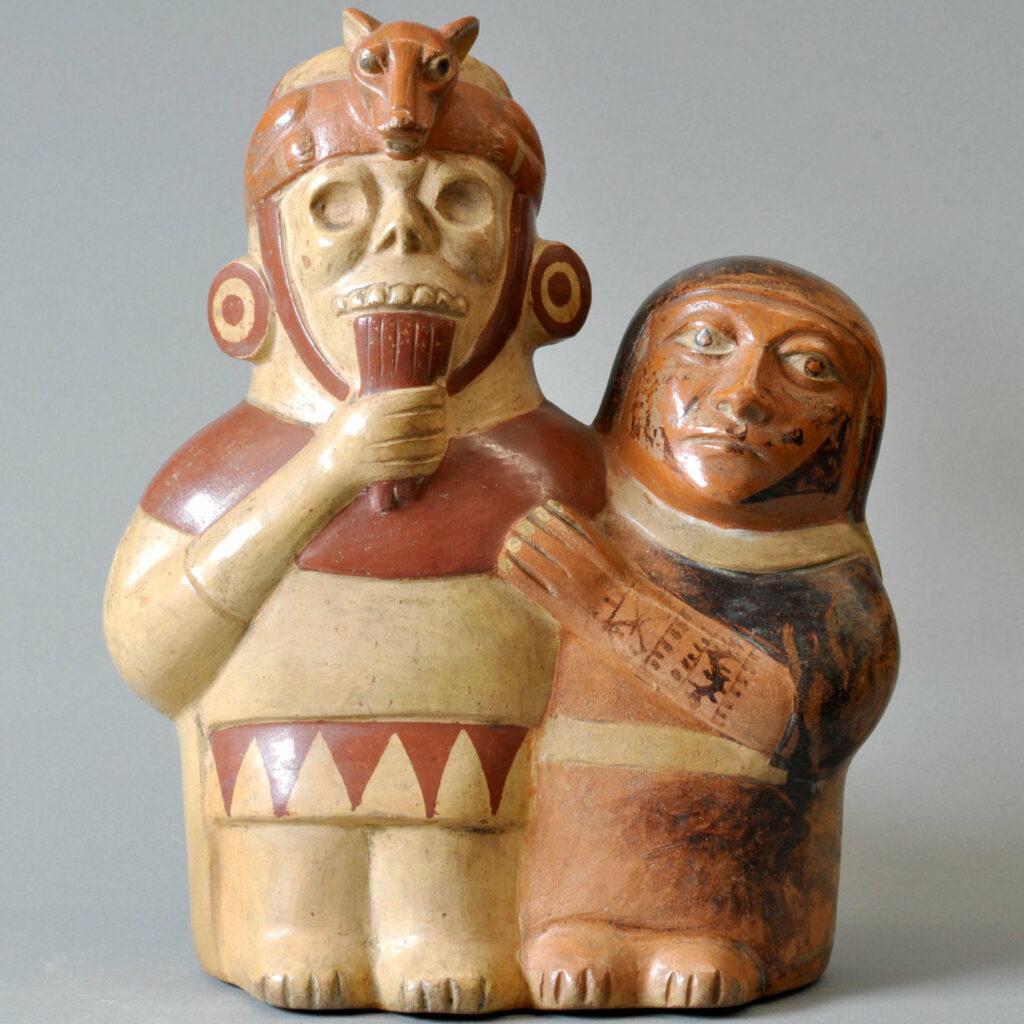 Panflötenspieler aus Keramik aus der Zeit der Moche-Kultur an der Nordküste Perus. Die Abbildung zeigt eines der verwendeten Musikinstrumente.
